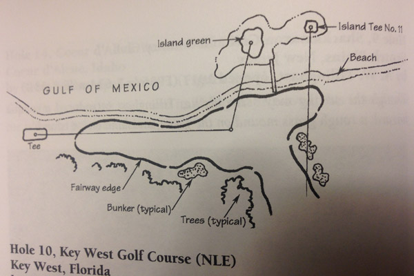 Key West Golf Course hand written hole 10